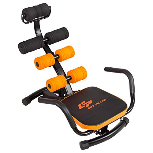 Goplus Core & Abdominal Trainers, Twister Trainer Ab Exercise Machine Height Adjustable Incline Workout Equipment Ab Rocket Exerciser (Yellow)