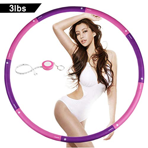 NEOWEEK   Upgraded   Weighted Hula Hoops for Exercise - 3lb, Professional Adult Hula Hoop for Weight Loss (Purple)