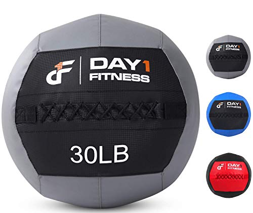 Day 1 Fitness Soft Wall Medicine Ball 30 Pounds - for Exercise,Rehab, Core Strength, Large Durable Balls for TRX, Floor Exercises, Stretching