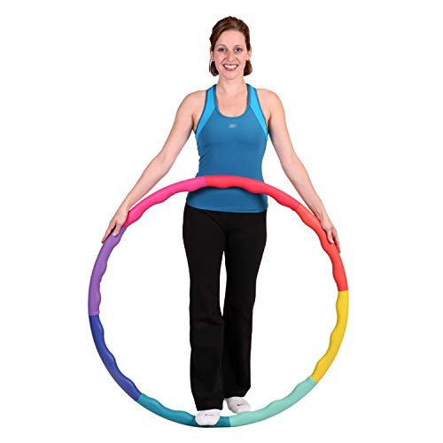 Sports Hoop Weighted Hoop, Weight Loss ACU Hoop 3M - 3.2lb (38 inches Wide) Medium, Weighted Fitness Exercise Hula Hoop with Wavy Ridges (Rainbow)