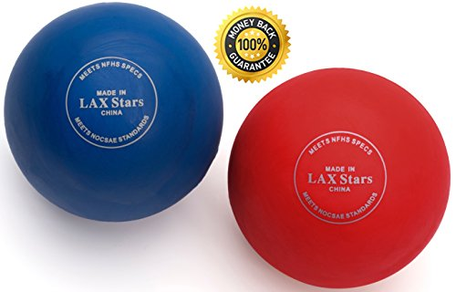 Lacrosse Balls Massage Ball Therapy - Myofascial Tension Release, Fascia Release, Massage Balls for Foot, Massage Balls for Back, Trigger Point Therapy Balls, Yoga, Pack of 2 Balls (Red Blue)