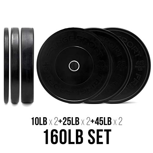 OneFitWonder 160 Lbs Bumper Plates Set/Virgin Rubber, Low Bounce, Odorless Premium Olympic Weight Plates for Crossfit Training/Weight Lifting/Home Gym Sold in Pair of 10 lbs,25 lbs,45 lbs