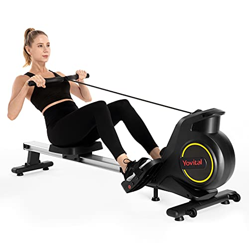 Yovital Foldable Rowing Machine for Home Use, Rowing Machine Rower Exercise Equipment, Row Machine 8 Level Adjustable Magnetic Resistance with LCD Monitor, Full Body Fitness