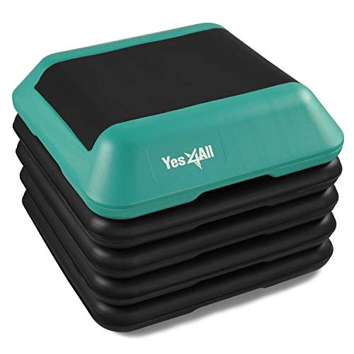 Yes4All Adjustable High Step Aerobic Platform, 16' x 16' Black/Green Step Platforms for Aerobic Step Exercises
