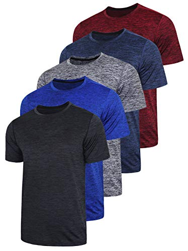 5 Pack Men's Active Quick Dry Crew Neck T Shirts - Athletic Running Gym Workout Short Sleeve Tee Tops Bulk (Edition 1, Medium)