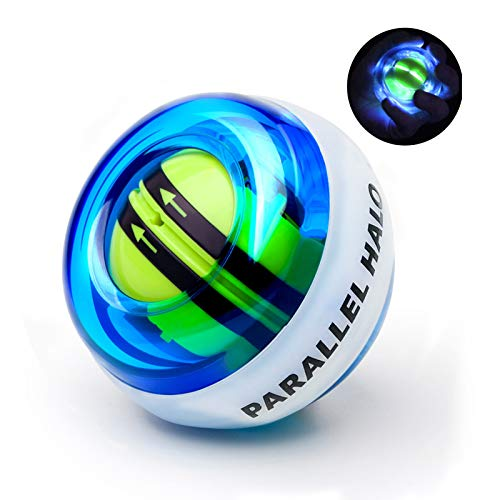 Parallel Halo Power Wrist Ball AUTO Start Wrist Exercises Force Ball Gyroscope Ball with LED Lights Wrist and Forearm Exerciser Arm Strengthener for Stronger Muscle and Bones (Blue+led)