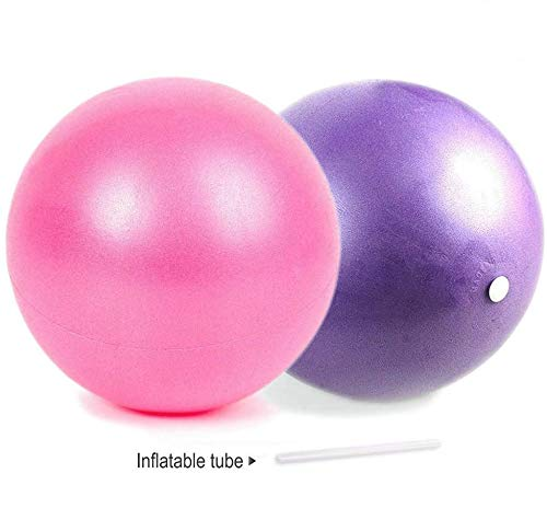 nononfish Mini Exercise Barre Ball for Yoga,Pilates,Stability Exercise Training Gym Anti Burst and Slip Resistant Balls(2 Pcs) with Inflatable Straw (2 Pcs) (Pink&Purple)