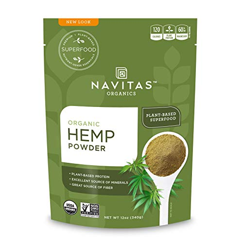 Navitas Organics Hemp Powder, 12 oz. Bag, 11 Servings — Organic, Non-GMO, Cold-Pressed, Gluten-Free