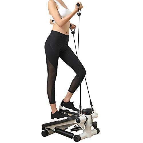 Real Relax Mini Stair Stepper with Resistance Bands and LCD Monitor, Adjustable Fitness Exercise Equipment