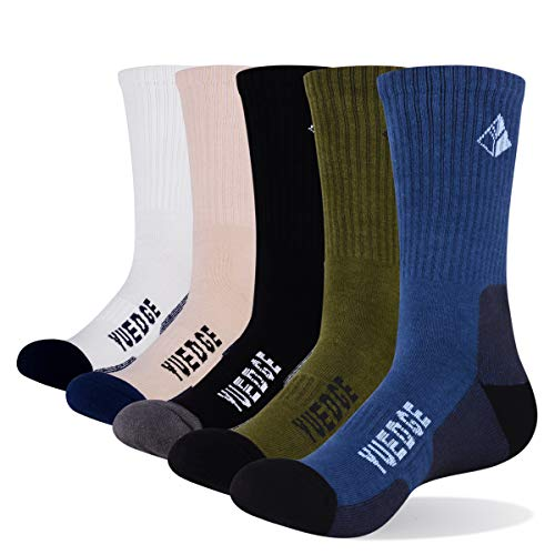 YUEDGE 5 Pairs Men's Cushion Crew Outdoor Sports Workout Hiking Socks