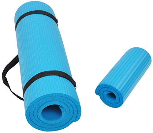 BalanceFrom GoYoga+ All-Purpose 1/2-Inch Extra Thick High Density Anti-Tear Exercise Yoga Mat and Knee Pad with Carrying Strap (Blue)