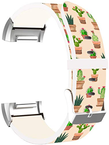 Charge 3 Bands Leather - ENDIY Strap Replacement Compatible with Fitbit Charge 3 / Charge 3 SE/Charge 4 2020 Small & Large Silver Women Men - Lovely Cute Cactus Pattern