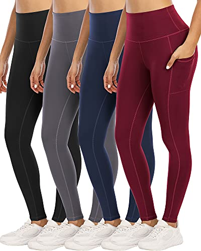 YOUNGCHARM 4 Pack Leggings with Pockets for Women,High Waist Tummy Control Workout Yoga Pants BlackDGrayNavyBurgundy-L