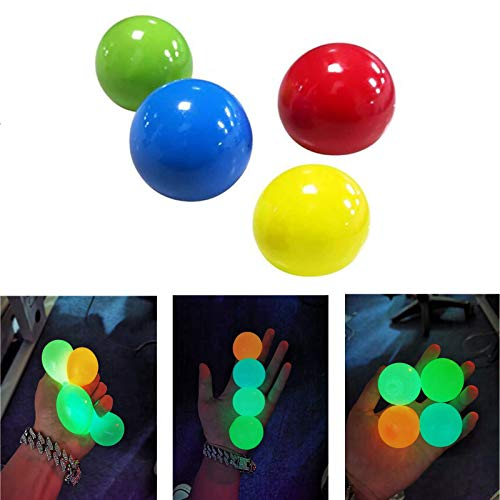 NEWIT 4 Pcs Luminescent Stress Relief Balls Sticky Ball, Stick to The Wall and Slowly Fall Off, for Kids and Adults Stress Relief Toys, Fun Toy for ADHD, OCD, Anxiety (4.5cm)