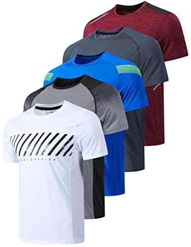 5 Pack Men's Active Quick Dry Crew Neck T Shirts   Athletic Running Gym Workout Short Sleeve Tee Tops Bulk (Edition 2, XX-Large)