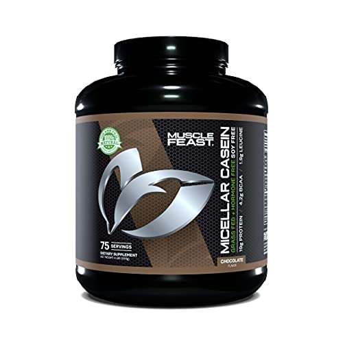 MUSCLE FEAST Pasture Raised + Grass Fed Micellar Casein + RBST/rBGH Free, Chocolate, 4lb