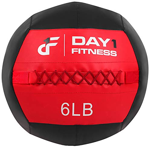 Day 1 Fitness Soft Wall Medicine Ball 6 Pounds RED/BLACK - for Exercise, Rehab, Core Strength, Large Durable Balls for Floor Exercises, Stretching