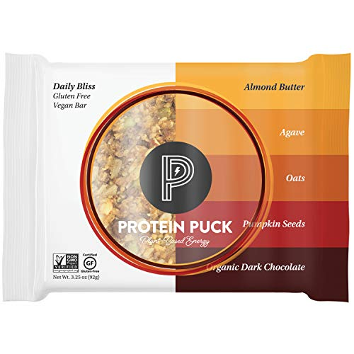 Protein Puck Protein Bars, Daily Bliss, Case of 16 - High Protein Snacks with 15 grams of Vegan Protein - Gluten-Free, Non-Dairy, Non-GMO Breakfast Snack Bar - Premium Plant-Based Healthy Snacks