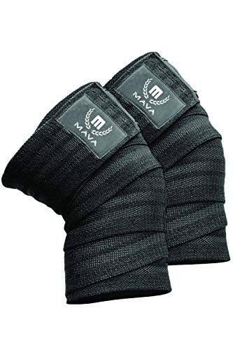 Mava Sports Knee Wraps (Pair) for Cross Training WODs,Gym Workout,Weightlifting,Fitness & Powerlifting - Best Knee Straps for Squats - for Men & Women- 72'-Compression & Elastic Support (Black)
