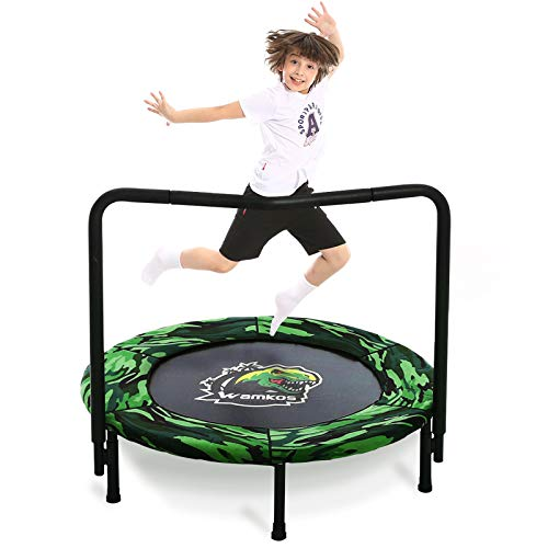 Wamkos 2020 Upgraded Dinosaur Mini Trampoline for Kids with Handle,Foldable Kids Trampoline for Play & Exercise Indoor or Outdoor,Camo Safty Padded Cover Toddler Rebounder Trampoline for Jump Sports
