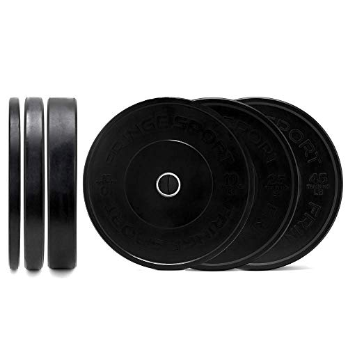 Fringe Sport Bumper Weight Plate Sets - Low Odor Virgin Rubber with Stainless Steel Insert to Fit All Olympic Bars, Cross Training, Weightlifting, WODs, and Strength Training Equipment (160)