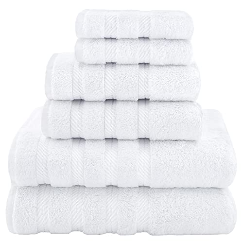 American Soft Linen Towel Set 2 Bath Towels 2 Hand Towels 2 Washcloths Super Soft Absorbent 100% Turkish Cotton Towels for Bathroom and Kitchen Shower Towel Bright White