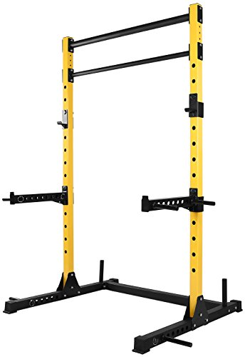 HulkFit Multi-Function Adjustable Power Rack Exercise Squat Stand with J-Hooks, Spotter Arms Dip Bars and Pull Up Bars, 800-Pound Capacity