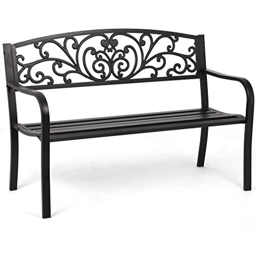 Garden Bench Outdoor Bench Patio Bench for Outdoors Metal Porch Clearance Work Entryway Steel Frame Furniture for Yard
