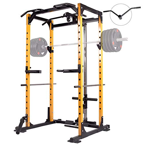 Mikolo Power Cage, 1000LBS Power Rack with LAT Pull Down and 360° Landmine Attachment for Home Gym,Weightlifting Come with J-Hooks, Dip Bars, T-Bar, and Other Cable Attachments (2021 Version)