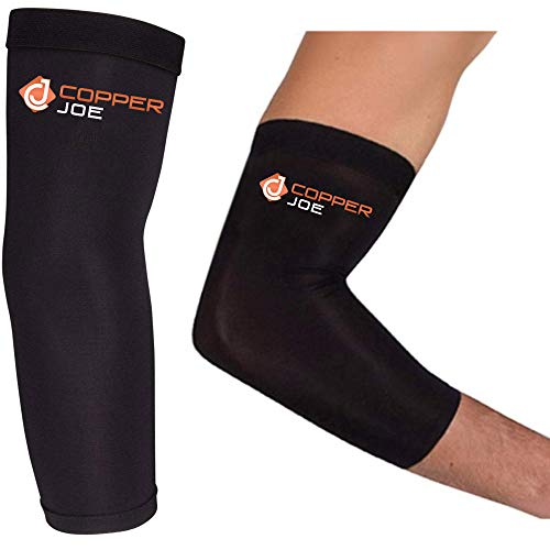 2 Pack - Copper Joe Compression Recovery Elbow Sleeve - Highest Copper Content Elbow Brace for Arthritis, Golfers or Tennis Elbow, Tendonitis. Elbow Arm Sleeves Fit for Men and Women (Large)