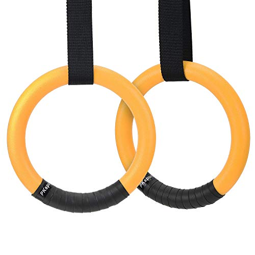 PACEARTH Gymnastic Rings with Adjustable Straps Fitness Exercise Gym Ring for Bodyweight, Cross-Training Workout, Strength Training, Pull ups and Dips (Set of 2)
