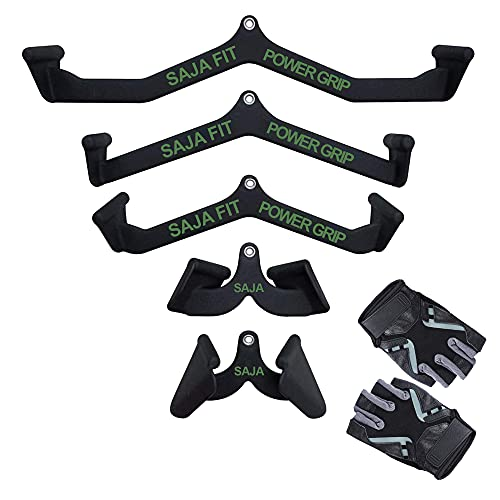 Cable Machine LAT Pull Down Machine Home Gym Fitness Rowing T-bar V-bar Set of 5 Pully Cable Machine Bar Attachments Bicep Curl Triceps Blaster Bar Handle Grips (5 PC Set, Gloves are Included)