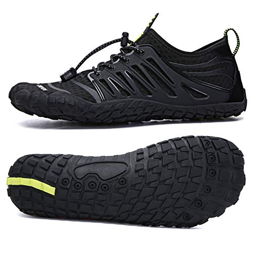UBFEN Water Shoes Aqua Shoes Swim Shoes Mens Womens Beach Sports Quick Dry Barefoot for Boating Fishing Diving Surfing with Drainage Driving Yoga Size 13 Women / 11 Men E Black