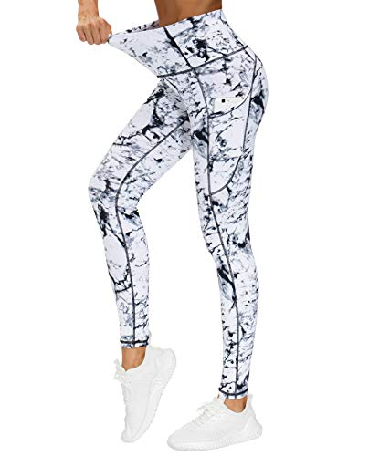 THE GYM PEOPLE Thick High Waist Yoga Pants with Pockets, Tummy Control Workout Running Yoga Leggings for Women (Medium, Marble)