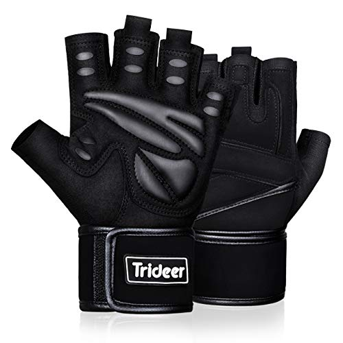 Trideer Padded Weight Lifting Gloves, Gym Gloves, Workout Gloves, Rowing Gloves, Exercise Gloves for Powerlifting, Fitness, Cross Training for Men & Women (Black, XL (Fits 8.6-9.25 Inches))