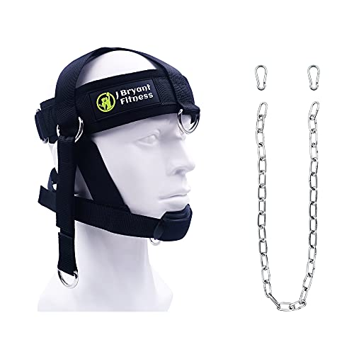 J Bryant Head Harness Neck Weight Lifting with Chain Adjustable Strap Neck Exercise Equipment