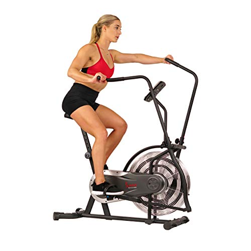 Sunny Health & Fitness Zephyr Air Bike, Fan Exercise Bike with Unlimited Resistance, Adjustable Handlebars - SF-B2715, Black