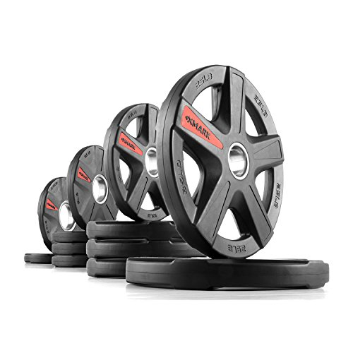 XMark TEXAS STAR 115 lb Set Olympic Plates, Patented Design, One-Year Warranty, Olympic Weight Plates