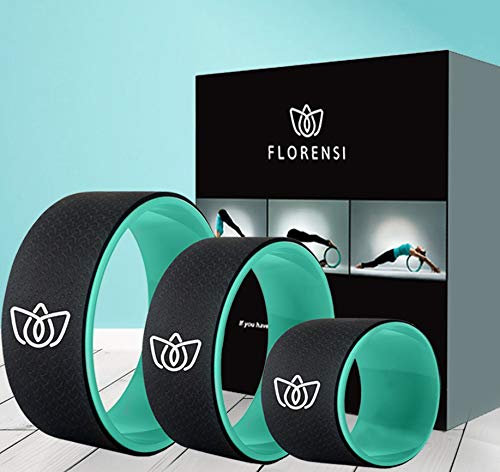 Florensi Yoga Wheel (3-Pack), Back Roller for Muscle Relaxation, Stretching Back Wheel for Pain Relief, Back Pain, Messages, Cracking and Popping, Yoga Circle for Challenging Poses (6', 10', 13')