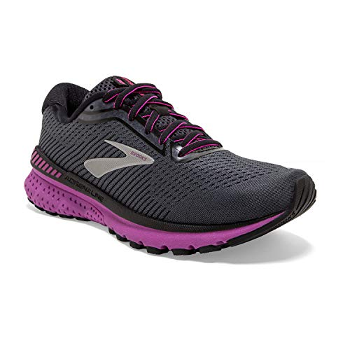Brooks Womens Adrenaline GTS 20 Running Shoe - Ebony/Black/Hollyhock - B - 9.0