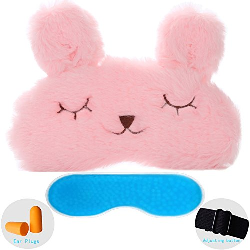 ZHICHEN Silk Eye Mask with Lovely 3D Cute Rabbit Face Soft & Lightweight Sleeping Blindfold for Kids Girls Adult for Yoga Traveling Party [Inclulding Ice Bag, Foam Ear Plugs] (Pink(Upgraded))