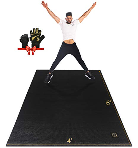 Gxmmat Large Exercise Mat 6'x4'x7mm, Thick Workout Mats for Home Gym Flooring, Extra Wide Non-Slip Durable Cardio Mat, High Density, Shoe Friendly,Great for Plyo, MMA, JumpRope,Stretch,Fitness