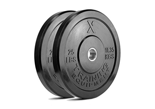 X Training Equipment Premium Black Bumper Plate Solid Rubber with Steel Insert - Great for Crosstraining Workouts (25lb Pair)