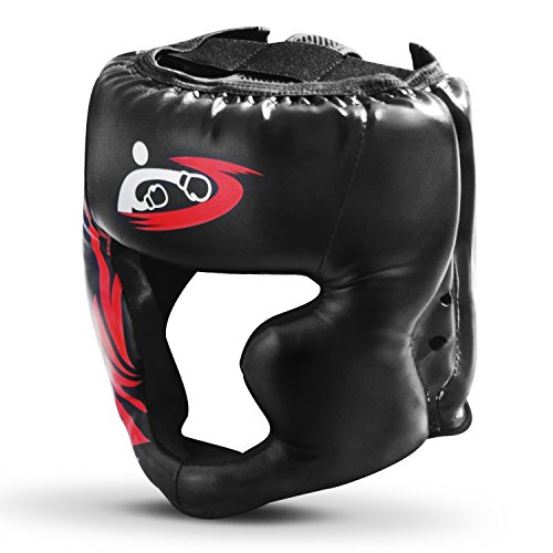 SANJOIN Boxing Headgear, PU Leather Head Guard Sparring Helmet for Boxing, MMA, UFC, Kickboxing, Mixed Martial Arts, Wresting - Black