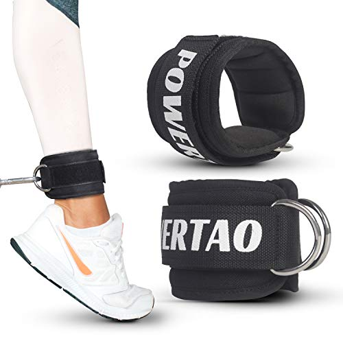 Powertao Fitness Ankle Strap for Cable Machines for Kickbacks, Glute Workouts, Leg Extensions, Curls, and Hip Abductors for Men and Women, Adjustable Neoprene Support
