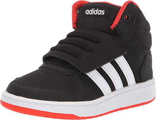 adidas Kids Unisex's Hoops Mid 2.0 Basketball Shoe, Black/White/red, 5.5 Big Kid