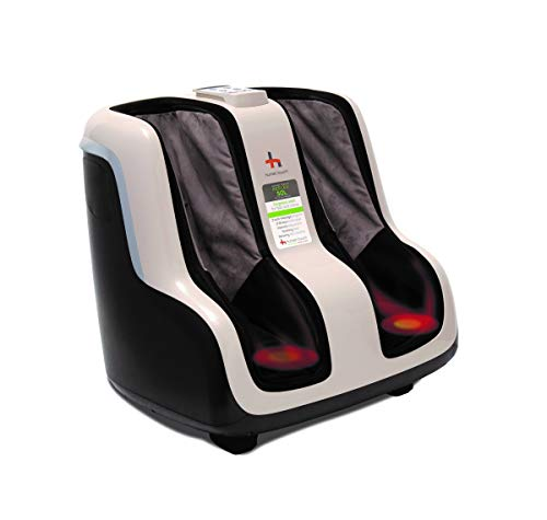 Human Touch Reflex SOL Foot and Calf Massager Machine with Heat, Shiatsu Deep Kneading, Under Foot Rollers, Delivers Relief for Tired Muscles and Plantar Fasciitis, Fits feet up to Men Size 12