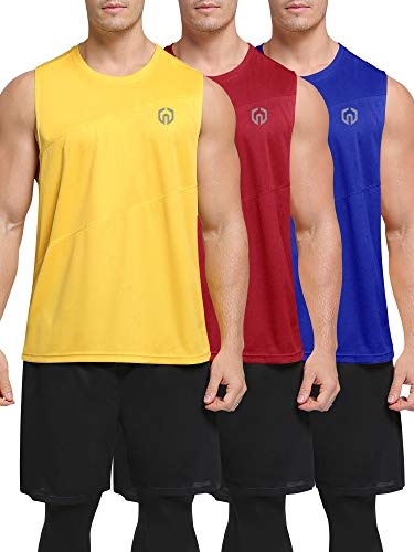 Neleus Men's 3 Pack Workout Tank Top Sleeveless Dri Fit Gym Shirts,5054,Blue/Red/Yellow,US M,EU L
