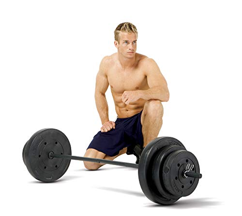 Marcy 100lb. Vinyl Weight Set with Standard Size Weight Plates, Weight Lifting Bar and Spring Collars VB-100