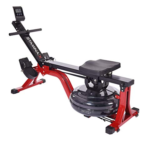 Stamina X Water Rower, Compact Rowing Machine with Heart Rate Transmitter and Multi-Function Monitor